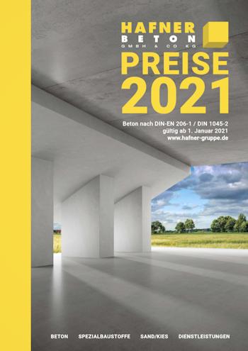 Preisliste 2021 Hafner Beton